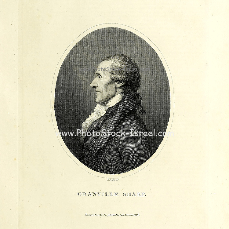 Granville Sharp (10 November 1735 – 6 July 1813) was one of the first British campaigners for the abolition of the slave trade. He also involved himself in trying to correct other social injustices. Sharp formulated the plan to settle black people in Sierra Leone, and founded the St George's Bay Company, a forerunner of the Sierra Leone Company. His efforts led to both the founding of the Province of Freedom, and later on Freetown, Sierra Leone, and so he is considered to be one of the founding fathers of Sierra Leone. He was also a biblical scholar, a classicist, and a talented musician. Copperplate engraving From the Encyclopaedia Londinensis or, Universal dictionary of arts, sciences, and literature; Volume XXIII;  Edited by Wilkes, John. Published in London in 1828