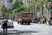 Public transport trolley bus. Waikiki, Hawaii RIGHTS MANAGED LICENSE AVAILABLE FROM www.PhotoLibrary.com