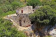Ruins of the Byzantine of Nea Moni built by Constantine IX and Empress Zoe after the miraculous appearance of an Icon of the Virgin Mary at the site and inaugurated in 1049. Scene of a terrible sack and massacre of hundreds of Chiots and priests during the Ottoman sack of Chios in reprisal for the 1821 Greek War of Indipendance. Nea Moni monastery, Chios Island, Greece. A UNESCO World Heritage Site. .<br /> <br /> If you prefer to buy from our ALAMY PHOTO LIBRARY  Collection visit : https://www.alamy.com/portfolio/paul-williams-funkystock/chios.html<br /> <br /> Visit our GREECE PHOTO COLLECTIONS for more photos to download or buy as wall art prints https://funkystock.photoshelter.com/gallery-collection/Pictures-Images-of-Greece-Photos-of-Greek-Historic-Landmark-Sites/C0000w6e8OkknEb8