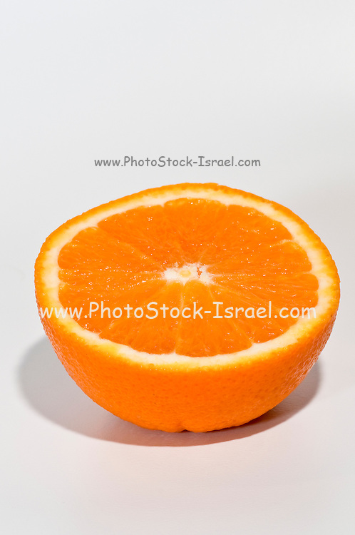 Half an orange on white background RF