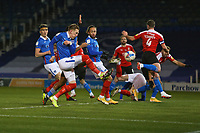 Football - 2020 / 2021 Sky Bet League One - Portsmouth vs. Swindon Town - Fratton Park<br /> <br /> Portsmouth's Ronan Curtis pounces at the back post to open the scoring for Pompey at Fratton Park <br /> <br /> COLORSPORT/SHAUN BOGGUST