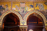 Byzantine mosaics depicting scenes from the Bible of the building o the Tower of Babel in the Cathedral of Monreale - Palermo - Sicily Pictures, photos, images & fotos photography .<br /> <br /> If you prefer you can also buy from our ALAMY PHOTO LIBRARY  Collection visit : https://www.alamy.com/portfolio/paul-williams-funkystock/monrealeduomomosaics.html. Refine search by adding subject etc  into the LOWER SEARCH WITHIN GALLERY box. <br /> <br /> Visit our BYZANTINE MOSAIC PHOTO COLLECTION for more   photos  to download or buy as prints https://funkystock.photoshelter.com/gallery-collection/Roman-Byzantine-Art-Artefacts-Antiquities-Historic-Sites-Pictures-Images-of/C0000lW_87AclrOk