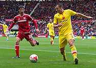 Antony Kay (Milton Keynes Dons) clears the ball from Diego Fabbrini (Middlesbrough FC)  during the Sky Bet Championship match between Middlesbrough and Milton Keynes Dons at the Riverside Stadium, Middlesbrough, England on 12 September 2015. Photo by George Ledger.