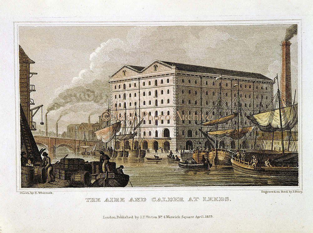 Scene on the Aire and Calder Navigation, Leeds, Yorkshire showing shipping, warehousing and smoking chimneys in background. From 'History of the County of Yorks' 1828. Hand-coloured engraving.