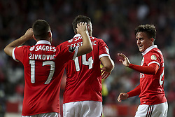 September 23, 2017 - Lisbon, Portugal - Benfica's midfielder Franco Cervi (R) celebrates with Benfica's forward Haris Seferovic (C) and Benfica's midfielder Andrija Zivkovic after scoring during the Portuguese League  football match between SL Benfica and FC Pacos de Ferreira at Luz  Stadium in Lisbon on September 23, 2017. (Credit Image: © Carlos Costa/NurPhoto via ZUMA Press)