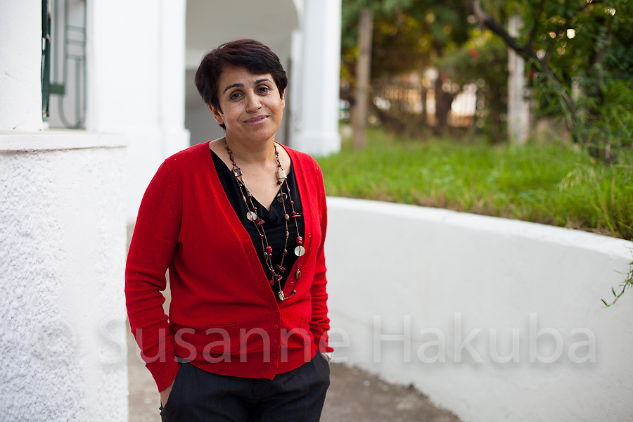 Ahlem Belhadj. Founding member and president of ATFD (l'Association Tunisienne des Femmes Démocrates; founded in 1989), the first independent women's organisation with a clearly activist agenda in Tunisia.<br /> Besides advocacy work to protect and improve existing women's rights ATFD also runs a centre for women who were victims of violence. After the revolution ATFD faces increased difficulties with the new government claiming the organisation has become obsolete and the Salafists attacking them. Ahlem herself has been a victim of a moral campaign against her by the Imam of the mosque in her native town.