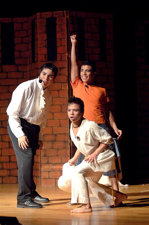 """Brownsville, Texas: January, 2006:  Students perform Andrew Lloyd Webber's """"Joseph and the Amazing Technicolor Dreamcoat"""" at Lopez High school auditorium. <br /> ©Bob Daemmrich/"""