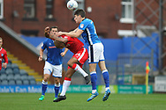 Jim McNulty challenges Josh Parker during the EFL Sky Bet League 1 match between Rochdale and Gillingham at Spotland, Rochdale, England on 23 September 2017. Photo by Daniel Youngs.