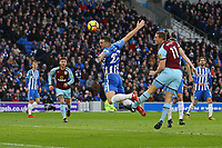 Football - 2017 / 2018 Premier League - Brighton and Hove Albion vs. Burnley<br /> <br /> Chris Wood of Burnley pushes Shane Duffy of Brighton to win a header at goal only to be pulled back for a free kick at The Amex Stadium Brighton <br /> <br /> COLORSPORT/SHAUN BOGGUST