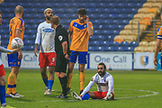 Sam Deering (7) of Dagenham & Redbridge  is fouled during the The FA Cup match between Mansfield Town and Dagenham and Redbridge at the One Call Stadium, Mansfield, England on 29 November 2020.