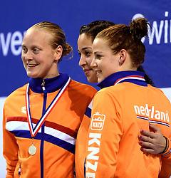 10-04-2014 NED: NK Swim Cup, Eindhoven<br /> Inge Dekker, Ranomi Kromowidjojo, Maud van der Meer
