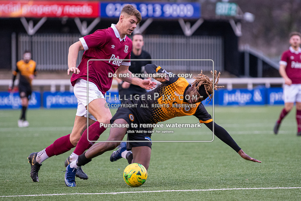 BROMLEY, UK - DECEMBER 07: Andre Coker, of Cray Wanderers FC, is fouled on the edge of the box when through on goal during the BetVictor Isthmian Premier League match between Cray Wanderers and Potters Bar Town at Hayes Lane on December 7, 2019 in Bromley, UK. <br /> (Photo: Jon Hilliger)