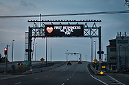 LED sign  honorring the first responders at the entranceway to the  Lake Ponchartrain Causeway ,