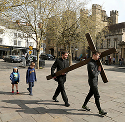 © Licensed to London News Pictures. 19/04/2019. Good Friday Walk of Witness through Wells High Street in  Somerset, UK. Photo credit: Jason Bryant/LNP