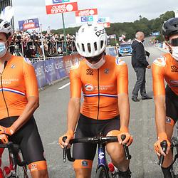 26-08-2020: Wielrennen: EK wielrennen: Plouay<br /> Koen de Kort, Sebastian Langeveld, Nick van der Lijke