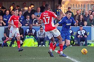 AFC Wimbledon defender Steve Seddon (15) dribbling into box during the EFL Sky Bet League 1 match between AFC Wimbledon and Charlton Athletic at the Cherry Red Records Stadium, Kingston, England on 23 February 2019.