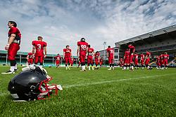 East Kilbride Pirates warm up - Mandatory by-line: Jason Brown/JMP - 27/08/2016 - AMERICAN FOOTBALL - Sixways Stadium - Worcester, England - Kent Exiles v East Kilbride Pirates - BAFA Britbowl Finals Day