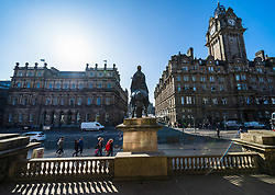 General view of Princes Street and Balmoral Hotel in Edinburgh, Scotland UK