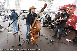 Six rockabilly bands played on stage outside the Motor Spring and Custom and Tuning Show in Moscow, Russia. Saturday April 22, 2017. Photography ©2017 Michael Lichter.