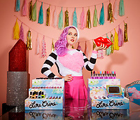 Doe Deere, founder of Lime Crime, an ecommerce cosmetics company that specializes in bright pastel/neon colorful lipsticks, eye-shadows, etc.  Shot in Woodland Hills, CA. October 20, 2015. Photo by David Sprague