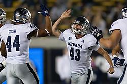 Nevada kicker Brandon Talton (43) celebrates his 50-yard field goal against California during the third quarter of an NCAA college football game, Saturday, Sept. 4, 2021, in Berkeley, Calif. (AP Photo/D. Ross Cameron)
