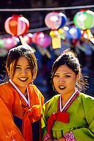 "Korean women wearing traditional ""Hanbok"" costume, Tongdosa Temple, north of Pusan (Busan), South Korea"