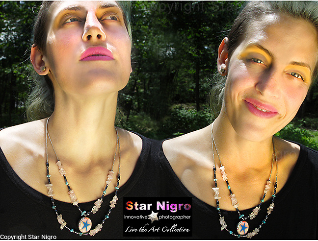 """Cloud Star necklace created exclusively by Star Nigro <br /> <br /> A one of a kind designed & handmade photo jewel created in the Hudson Valley, NY. <br /> <br /> About/Materials: This set is made up of 2 of  my photos of Boston's graffiti &  clouds sealed with swarovski accents.<br /> <br /> Necklace has sterling silver beads, turquoise, rose quartz & hematite.<br /> <br /> +2 in 1 piece can be worn both ways<br />  w/ sterling clasp & star accent<br /> <br /> size: 11"""" length x 4.5"""" wide<br /> <br /> price: $86.00"""