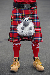 General view of an Aberdeen fan with a kilt and toy sheep before the William Hill Scottish Cup final at Hampden Park, Glasgow.