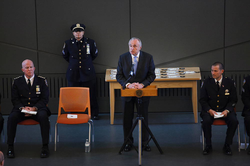 NYPD Commissioner William J. Bratton speaks during the NYPD Transit Bureau Canine Unit Graduation Ceremony at the College Point Police Academy in Queens, NY on Tuesday, Oct. 6, 2015.<br /> <br /> Andrew Hinderaker for The Wall Street Journal<br /> NYSTANDALONE