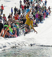 Rob Lemay brought a couple of extra hands thinking they may help him cross the pond during Gunstock's annual BYODC event to end the 2014 season on Sunday afternoon.  (Karen Bobotas/for the Laconia Daily Sun)