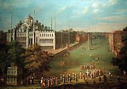 The Grand Vizier Crossing the Atmeydani (Horse Square) by Jean Baptiste Vanmour (1671-1737) oil on canvas, 1720-1737.  The Atmeydani was Istanbul's large, central square.  Two obelisks recall the fact that the area had been a hippodrome in ancient times.  The grand vizier, on horseback at lower right centre, is accompanied by soldiers and preceded by two servants.  They carry a prayer rug and a cushion in case he is called to prayer while en route.