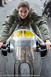 Amelie Mooseder at the 1/8 mile sprint races during the Intermot International Motorcycle Fair. Cologne, Germany. Saturday October 6, 2018. Photography ©2018 Michael Lichter.