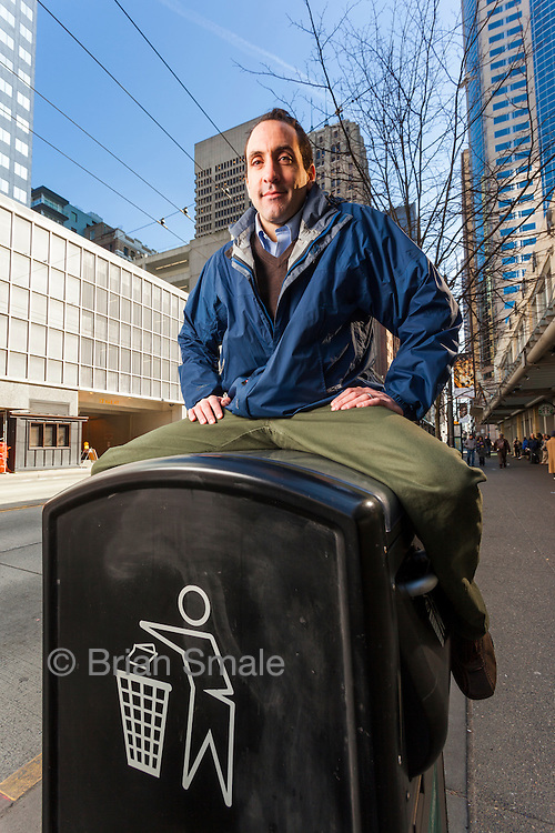Jim Poss, creator of the BigBelly Solar Powered trash compactor. Photographed in Seattle, WA by Brian Smale for BusinessWeek Magazine.