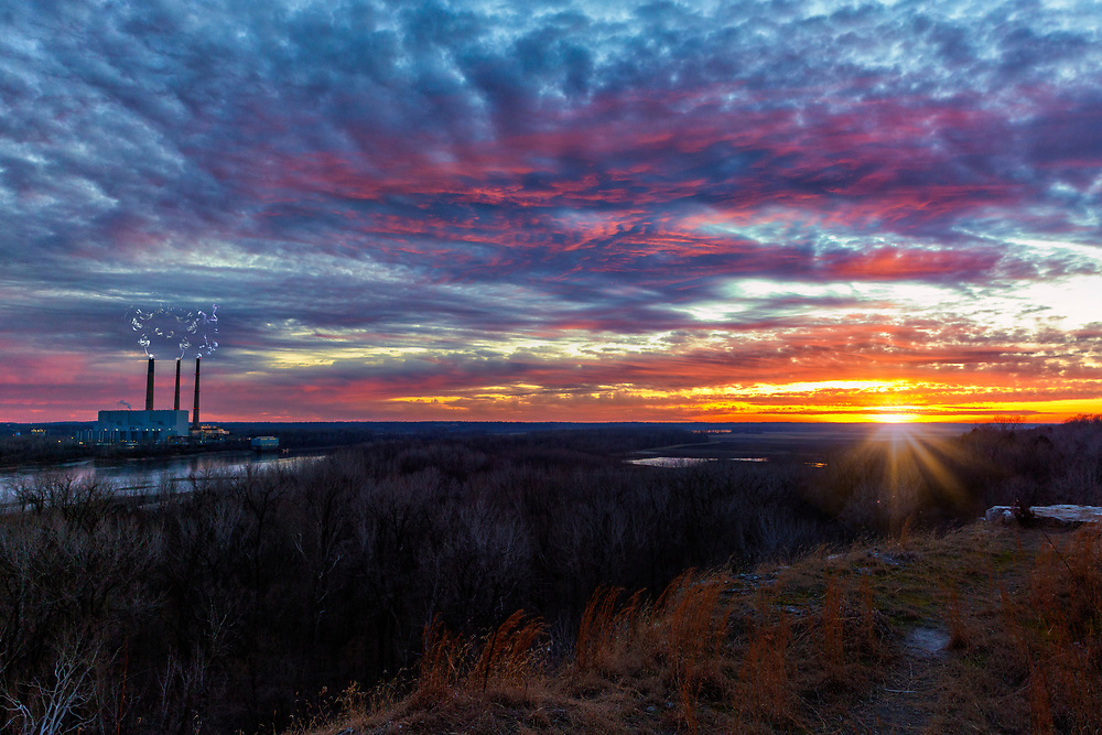 A Sunset Vire From the Overlook at Klondike Park in Missouri on 1-13-21