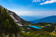 Mountain lake with emerald color