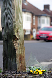 © Licensed to London News Pictures.06/04/2018<br /> HITHER GREEN, UK.<br /> DAY 3 Hither Green Burglary Murder.<br /> A single bunch of yellow flowers with no card placed on Further Green Road at the junction with South Park Crescent, Hither Green. This is the road Burglar Henry Vincent collapsed in.<br /> Photo credit: Grant Falvey/LNP