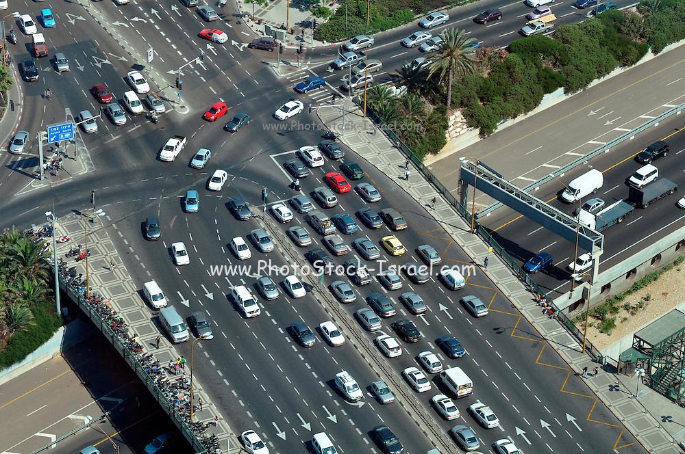 Israel, Tel Aviv. Aerial View of HaShalom Intersection
