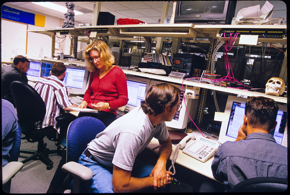 Software engineers working in the Windows 2000 Software Development Lab Friday meeting with Jugglers, Microsoft Corporate Campus, Redmond Washington, Autumn 1999