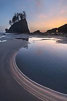 Second Beach tide pools during twilight or blue hour, Olympic National Park near La Push Washington