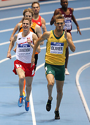 07.03.2014, Ergo Arena, Sopot, POL, IAAF, Leichtathletik Indoor WM, Sopot 2014, Tag 1, im Bild Andre Olivier (RSA), Marcin Lewandowski (POL) // Andre Olivier (RSA), Marcin Lewandowski (POL) during day one of IAAF World Indoor Championships Sopot 2014 at the Ergo Arena in Sopot, Poland on 2014/03/07. EXPA Pictures © 2014, PhotoCredit: EXPA/ Newspix/ Tomasz Jastrzebowski<br /> <br /> *****ATTENTION - for AUT, SLO, CRO, SRB, BIH, MAZ, TUR, SUI, SWE only*****