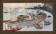 Train crossing a causeway across a bay on the Takanawa Railroad, Japan, c1880.  From a picture by a Japanese artist.