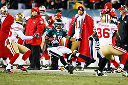 Philadelphia Eagles wide receiver DeSean Jackson #10 carries the ball during the NFL game between the San Francisco 49ers and the Philadelphia Eagles on December 20th 2009.  The Eagles won 27-13 at Lincoln Financial Field in Philadelphia, Pennsylvania. (Photo By Brian Garfinkel)