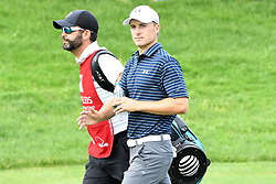 June 25, 2017 - Cromwell, Connecticut, U.S - PGA Tour Caddy Michael Greller and Jordan Spieth walk off the first tee during the final round of the Travelers Championship at TPC River Highlands in Cromwell, Connecticut. (Credit Image: © Brian Ciancio via ZUMA Wire)