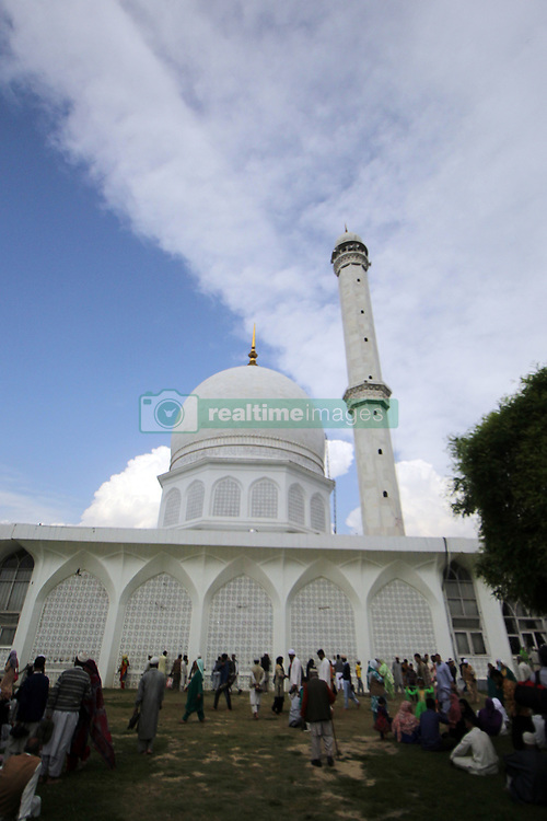 April 28, 2017 - Srinagar, India - Kashmiri Muslims devotees  pray in the Hazratbal Shrine on the outskirts of Srinagar, the holy relic believed to be the hair of the Prophet Mohammed on the occasion of theFriday following of Mehraj-u-Alam, the night of ascent when the Holy Prophet Muhammad (SAW) ascended to the highest levels of Heavens, at the Hazratbal Shrine in the outskirts of Srinagar Indian Controlled Kashmir on Friday, April 28, 2017. Thousands of Muslims including men and women from different parts of Kashmir thronged the shrine to have a glimpse of holy relic. The relic is displayed to the devotees on important Islamic days such as the Mehraj-ul-Alam (Credit Image: © Umer Asif/Pacific Press via ZUMA Wire)