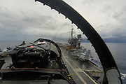 F/A-18 Hornet landing on carrier deck