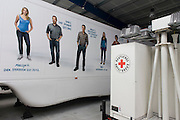 Deutsches Rotes Kreuz - DRK (German Red Cross) vehicle logos at their logistics centre at Berlin-Schönefeld airport.