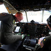 7/25/09 -- BRUNSWICK, Maine. Navy Cargo plane Squadron VR-62 sent it's last C-130 Hercules to Jacksonville, Fla. today as part of the BRAC realignment. The squadron has a few members on duty through August at Brunswick, but has finished their mission here. Photo by Roger S. Duncan.