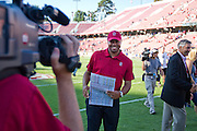 Stanford University Cardinals' Head Coach David Shaw celebrates a 57-3 victory over San Jose State in Palo Alto, Calif., Sept. 3, 2011.  (Spartan Daily/Stan Olszewski)