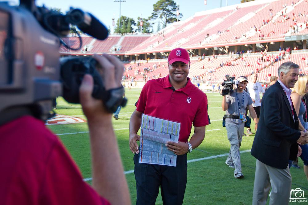 Stanford University Cardinals' Head Coach David Shaw celebrates a 57-3 victory over San Jose State in Palo Alto, Calif., Sept. 3, 2011.  (Spartan Daily/Stan Olszewski)