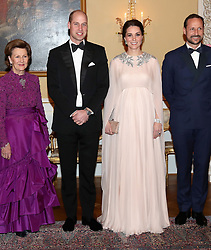 The Duke and Duchess of Cambridge with Queen Sonja of Norway (L) and Crown Prince Haakon of Norway ahead of a dinner at the Royal Palace, Oslo, Norway and the end of the third day of their tour of Scandinavia.